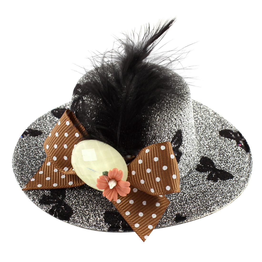 Lady Mini Bowknot Feather Pink Flower Detail Glittery Tinsel Coated Top Hat Hairclip Silver Tone