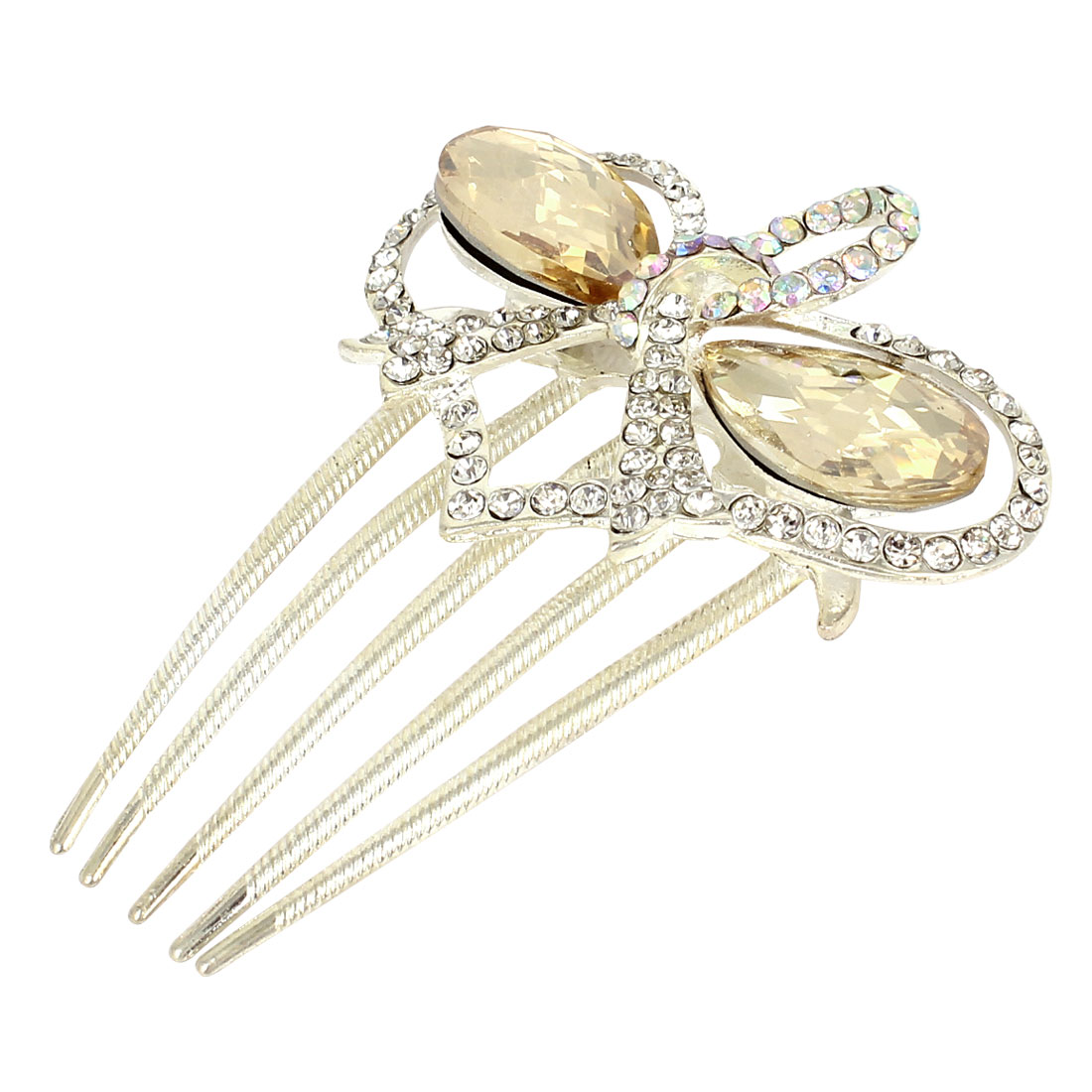 Wedding Bowknot Shape Plastic Crystal Decor Hair Comb Slide Clip Beige