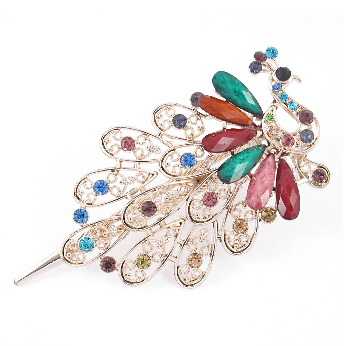 Woman Faux Rhinestone Gemstone Decor Peacock Shape Barrette Hairclip
