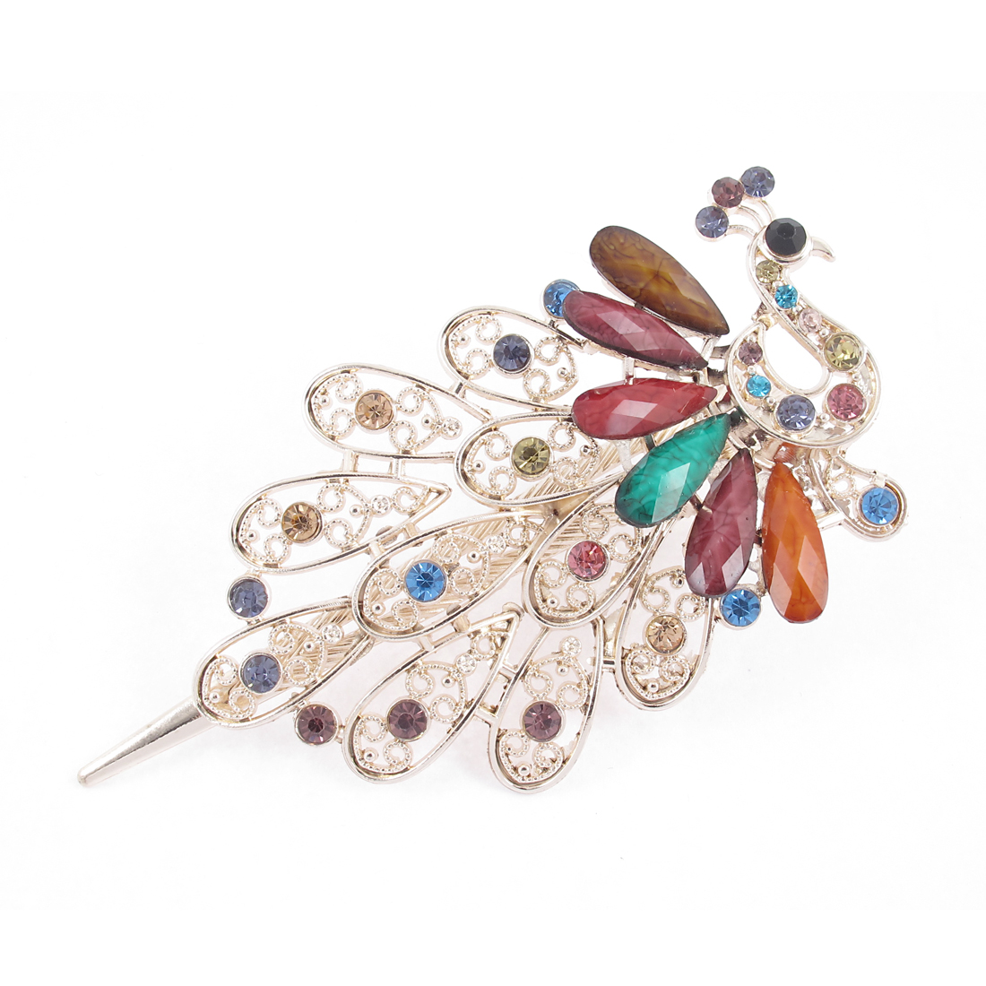 Woman Faux Rhinestone Gemstone Detail Peacock Shape Barrette Hairclip