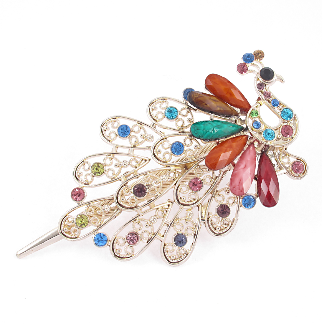 Lady Faux Rhinestone Gemstone Detail Peacock Design Barrette Hairclip