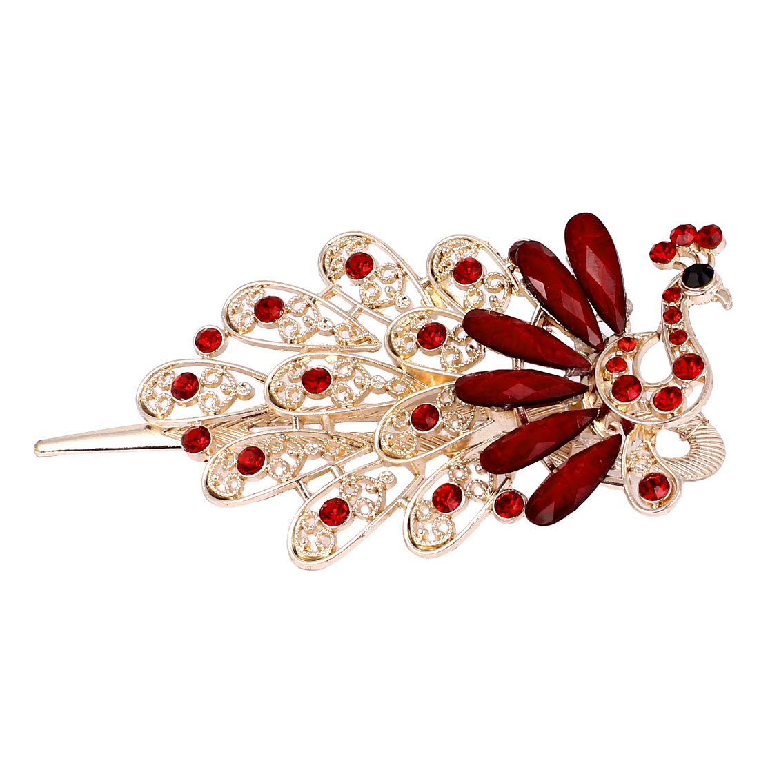 Plastic Crystal Accent Peacock Shape Alligator Hair Clip Barrette Red