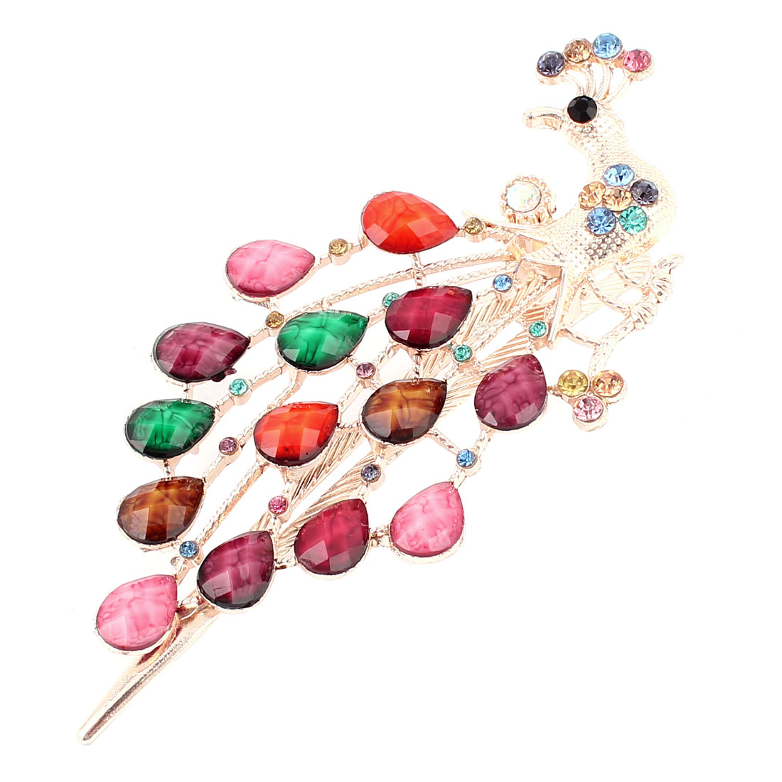Faux Crystal Rhinestone Decor Peacock Style Single Prong Alligator Hair Clip Colorful