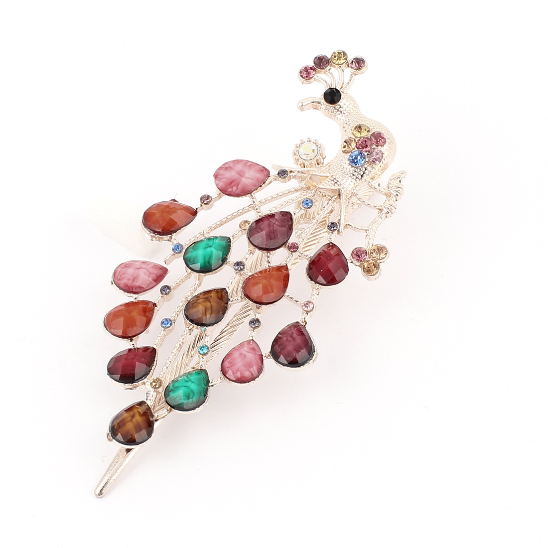 Plastic Crystal Decor Peacock Design Single Prong Alligator Hair Clip Colorful