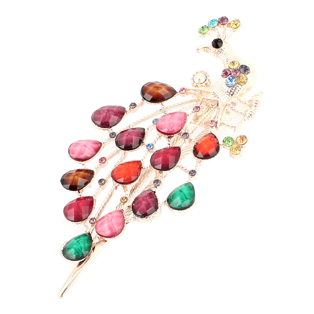 Multicolor Plastic Crystal Accent Single Prong Alligator Clip Hairclip