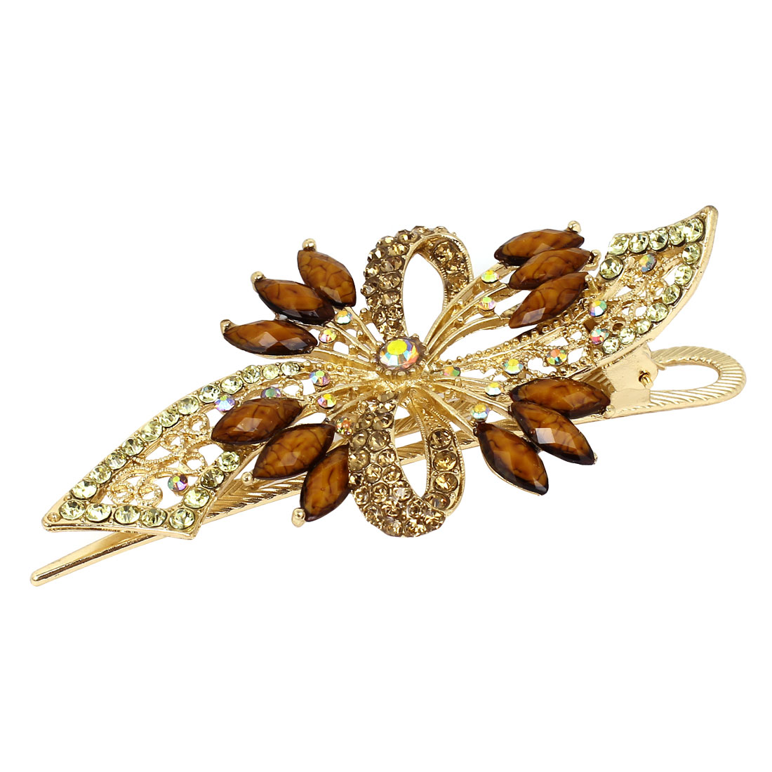 Plastic Rhinestone Crystal Leaves Alligator Hair Clip Barrette Brown