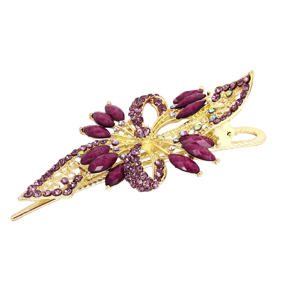 Plastic Rhinestone Crystal Leaves Alligator Hair Clip Barrette Purple