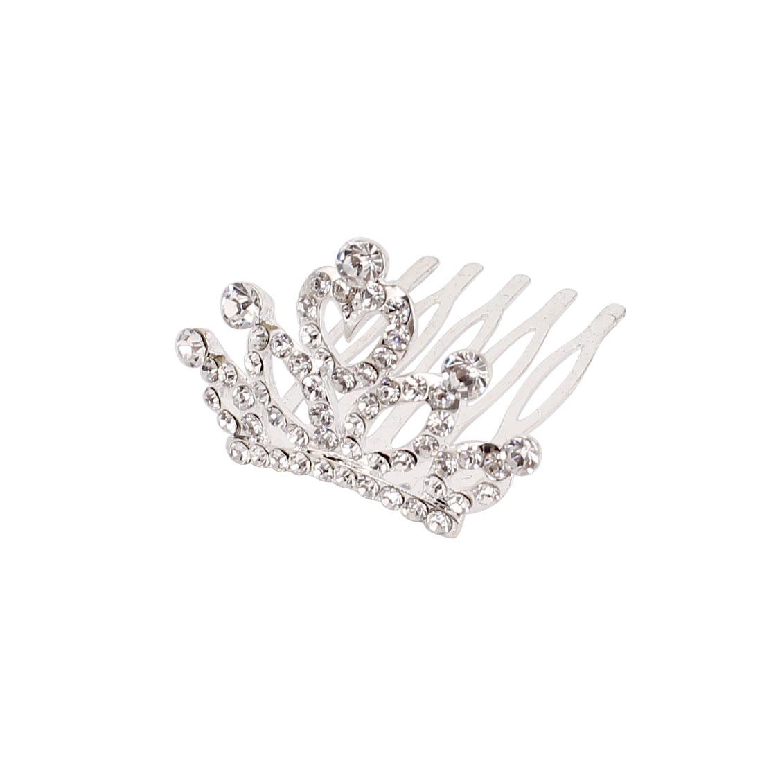Party Wedding Crown Design Rhinestone Decor Hair Comb Slide Clip Silver Tone