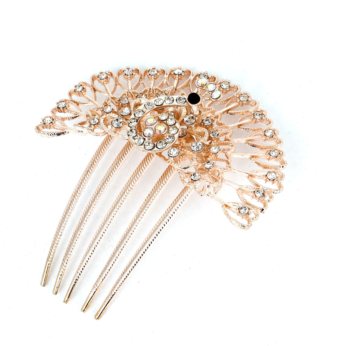 Wedding Plastic Rhinestone Peacock Hair Comb Slide Clip 5 Teeth Silver Tone