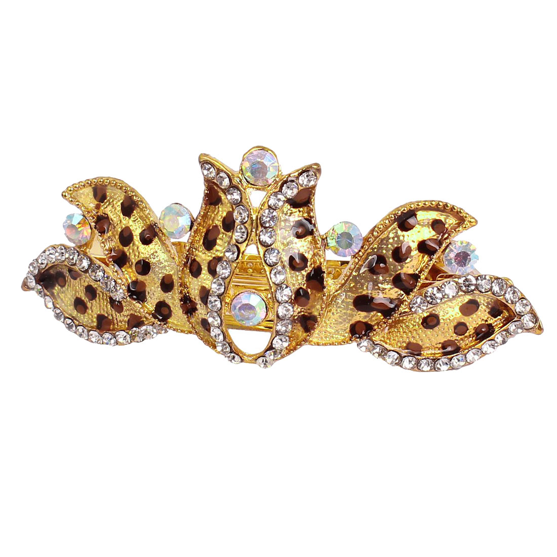 Leopard Pattern Rhinestone Flower Design French Hair Clip Barrette Brown