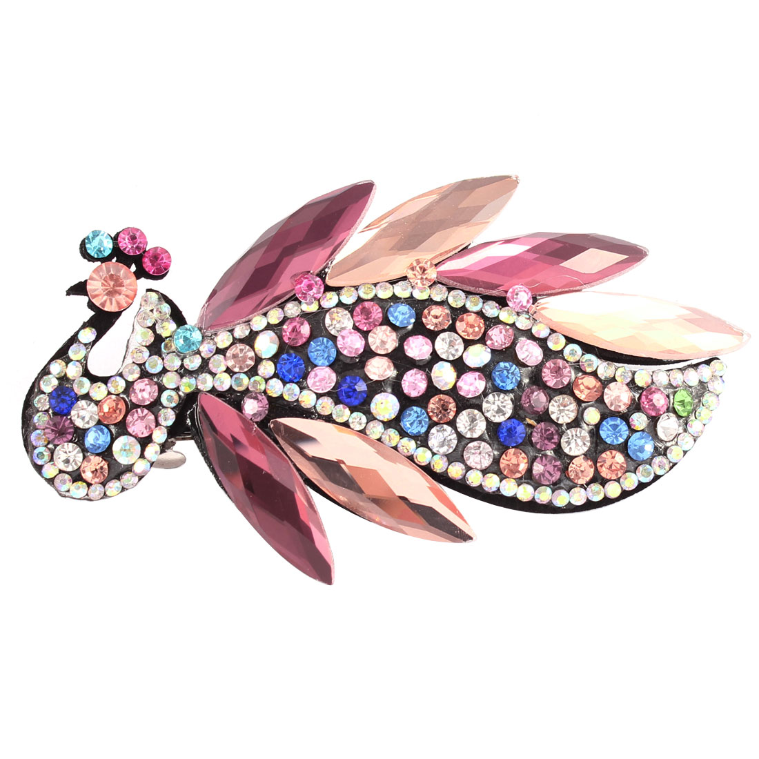 Lady Faux Rhinestone Crystal Detail Peacock Shape Hairpin Barrette Hair Clip