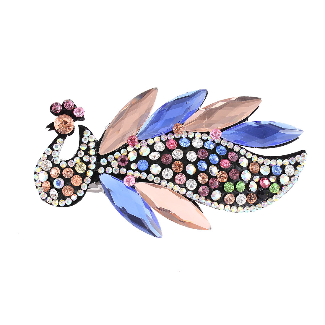 Woman Multicolor Faux Rhinestone Crystal Decor Peacock Shape Barrette Hairclip