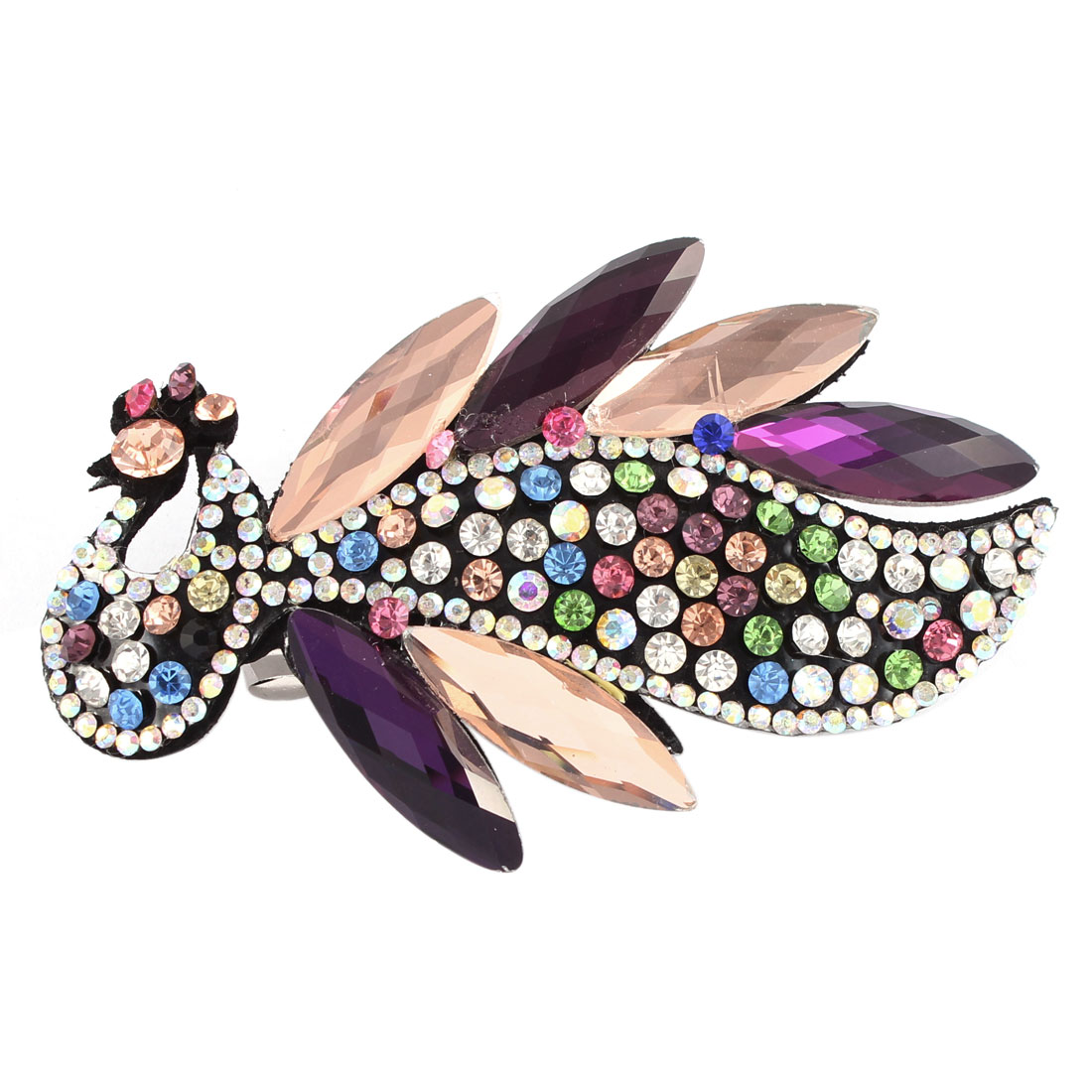 Multicolor Faux Crystal Rhinestone Detail Peacock Design Barrette Hairclip