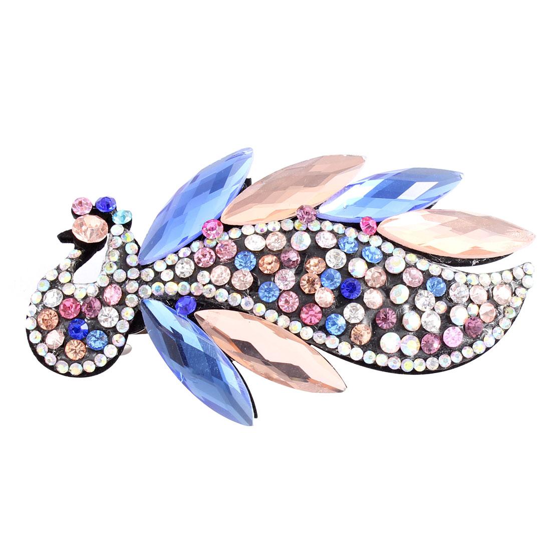Multicolor Faux Rhinestone Crystal Decor Peacock Shape Barrette Hairclip for Woman