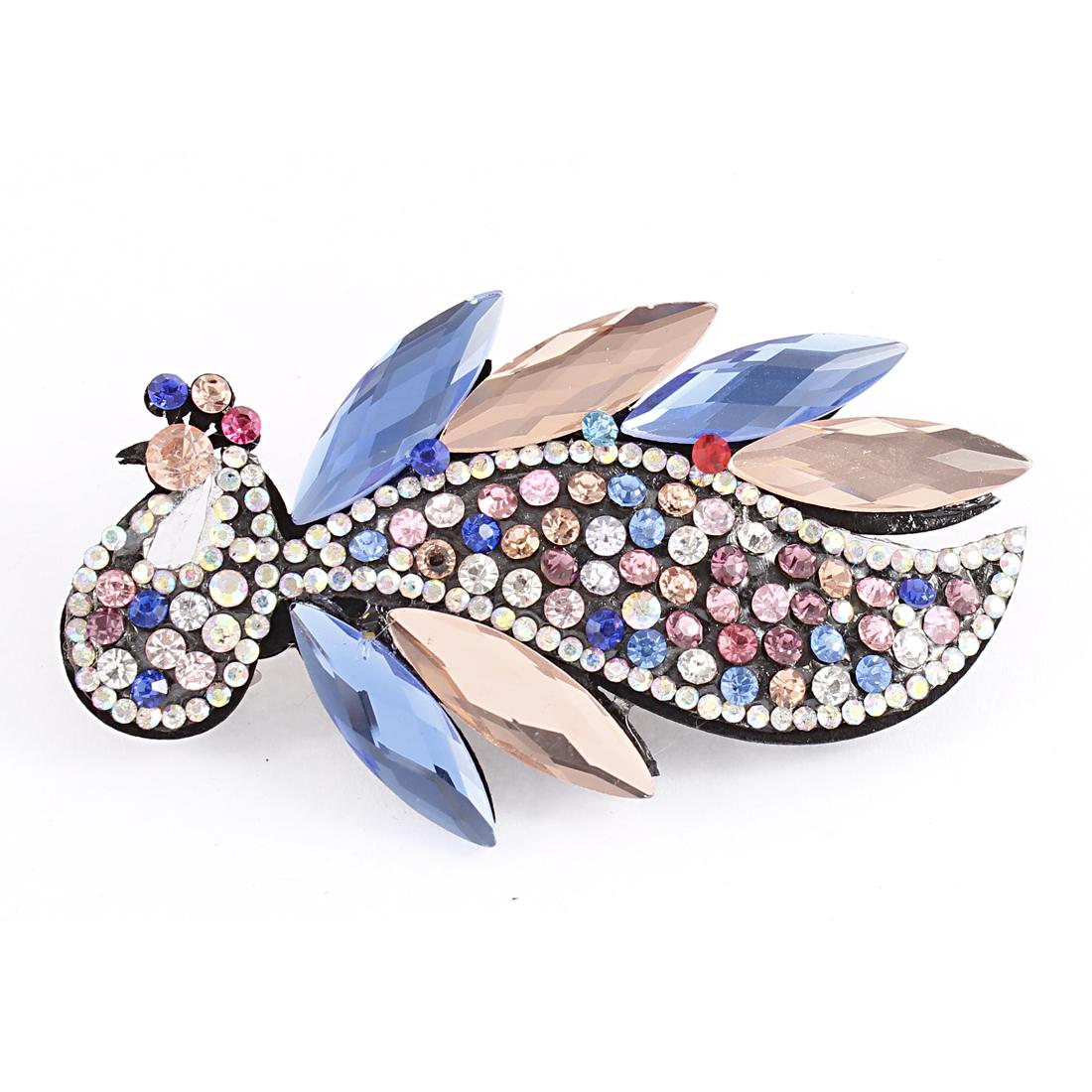 Multicolor Faux Rhinestone Crystal Decor Peacock Shape Barrette Hairclip for Lady