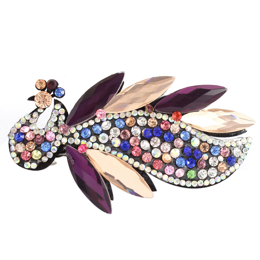 Multicolor Faux Crystal Rhinestone Detail Peacock Shape Barrette Hairclip
