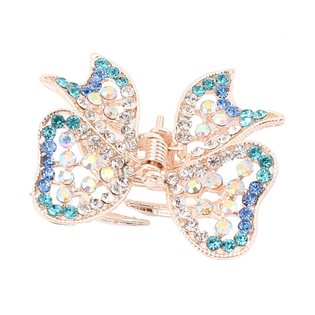 Metal Butterfly Shape Faux Rhinestone Inlaid Hairclip Clamp Clip Claw Blue