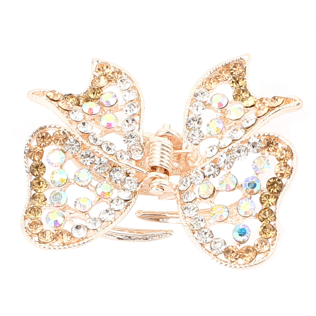 Metal Butterfly Shape Faux Rhinestone Inlaid Hairclip Clamp Clip Claw Gold Tone