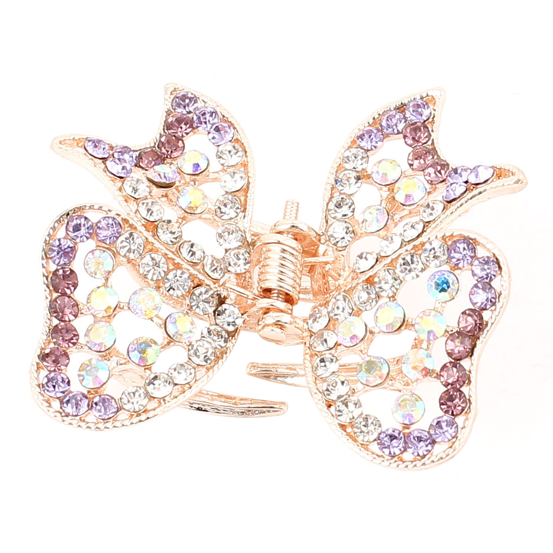 Metal Butterfly Shape Faux Rhinestone Inlaid Hairclip Clamp Clip Claw Purple