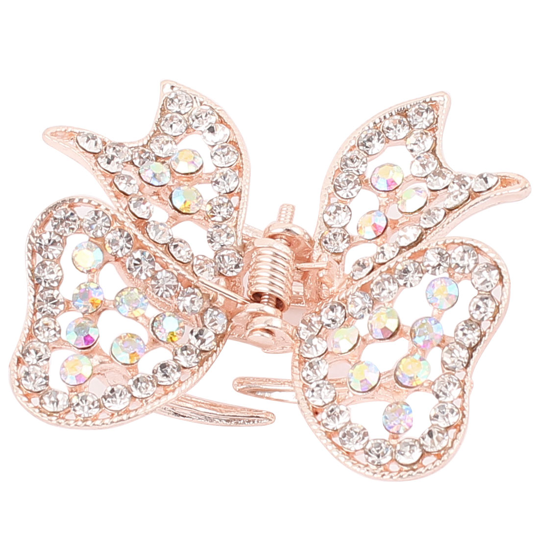 Metal Butterfly Faux Rhinestone Inlaid Hairclip Clamp Clip Claw Silver Tone