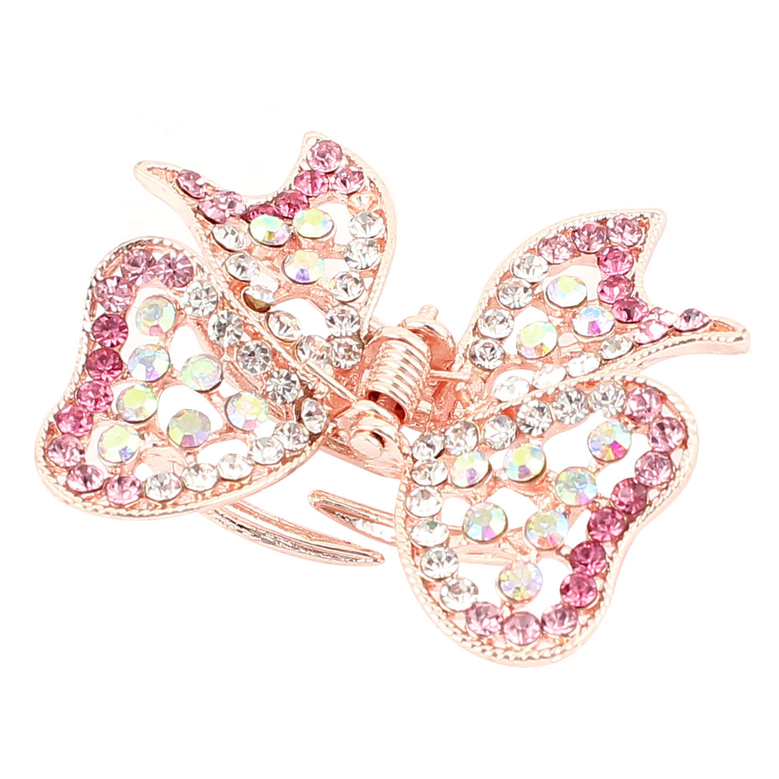 Metal Butterfly Shape Faux Rhinestone Inlaid Hairclip Clamp Clip Claw Pink