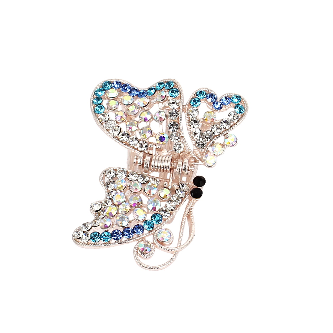 Shiny Butterfly Plastic Rhinestone Hairclip Clamp Clip Claw Blue