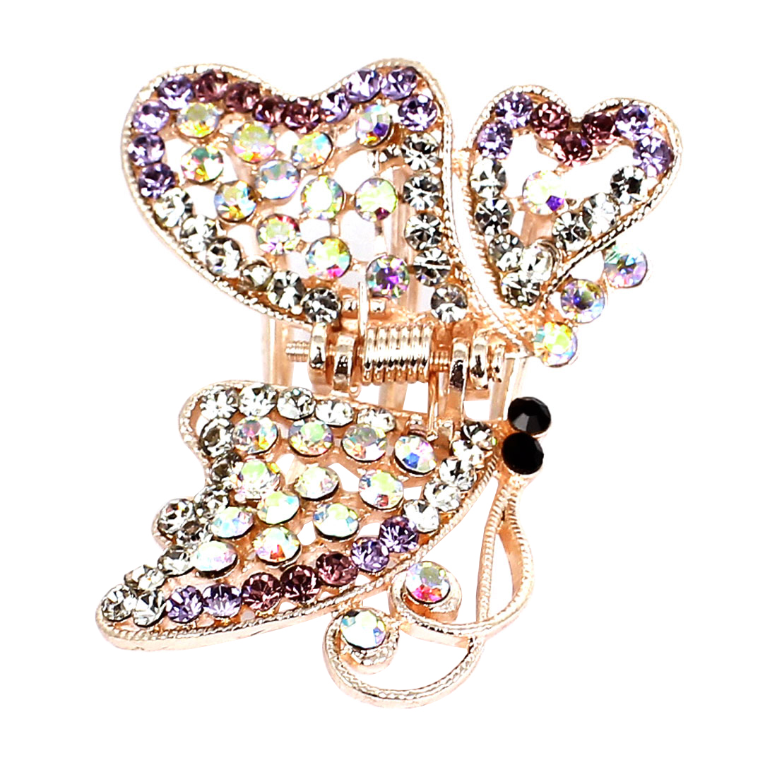 Shiny Butterfly Plastic Rhinestone Hairclip Claw Clamp Clip Purple