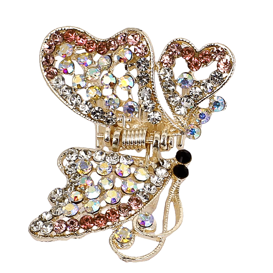 Shiny Butterfly Plastic Rhinestone Hairclip Clamp Clip Claw Pink