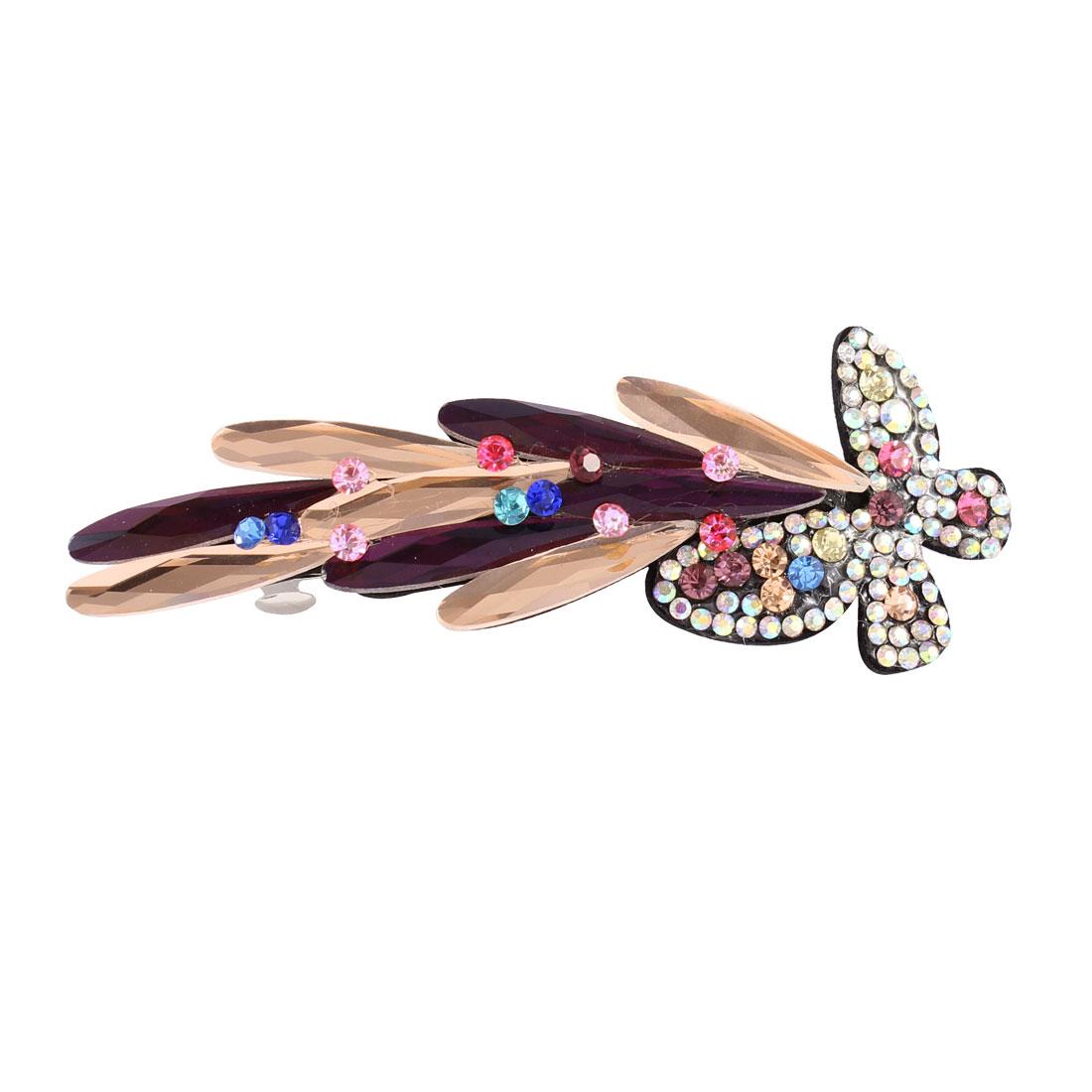 Plastic Crystal Rhinestone Decor Butterfly Shape Hair Barrette Hairpin