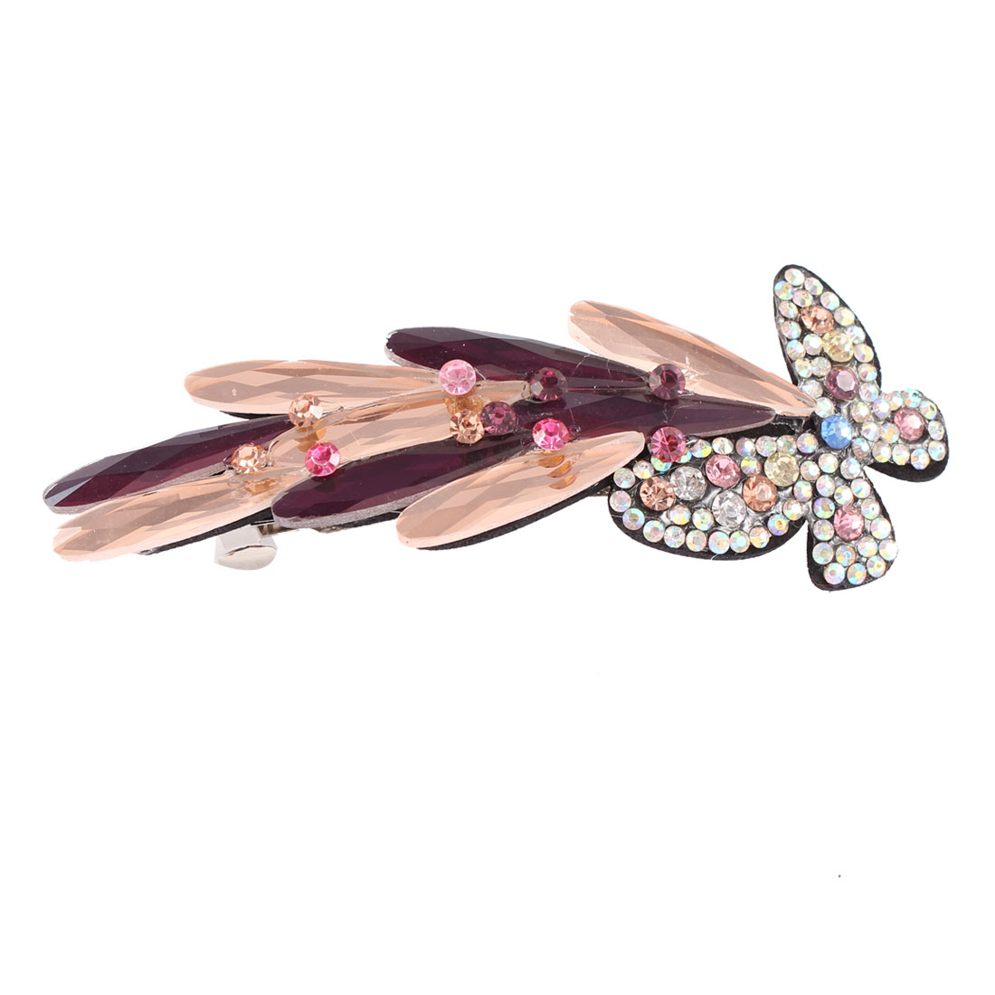 Faux Crystal Rhinestone Decor Butterfly Shape Barrette Hair Clip Hairpin for Lady