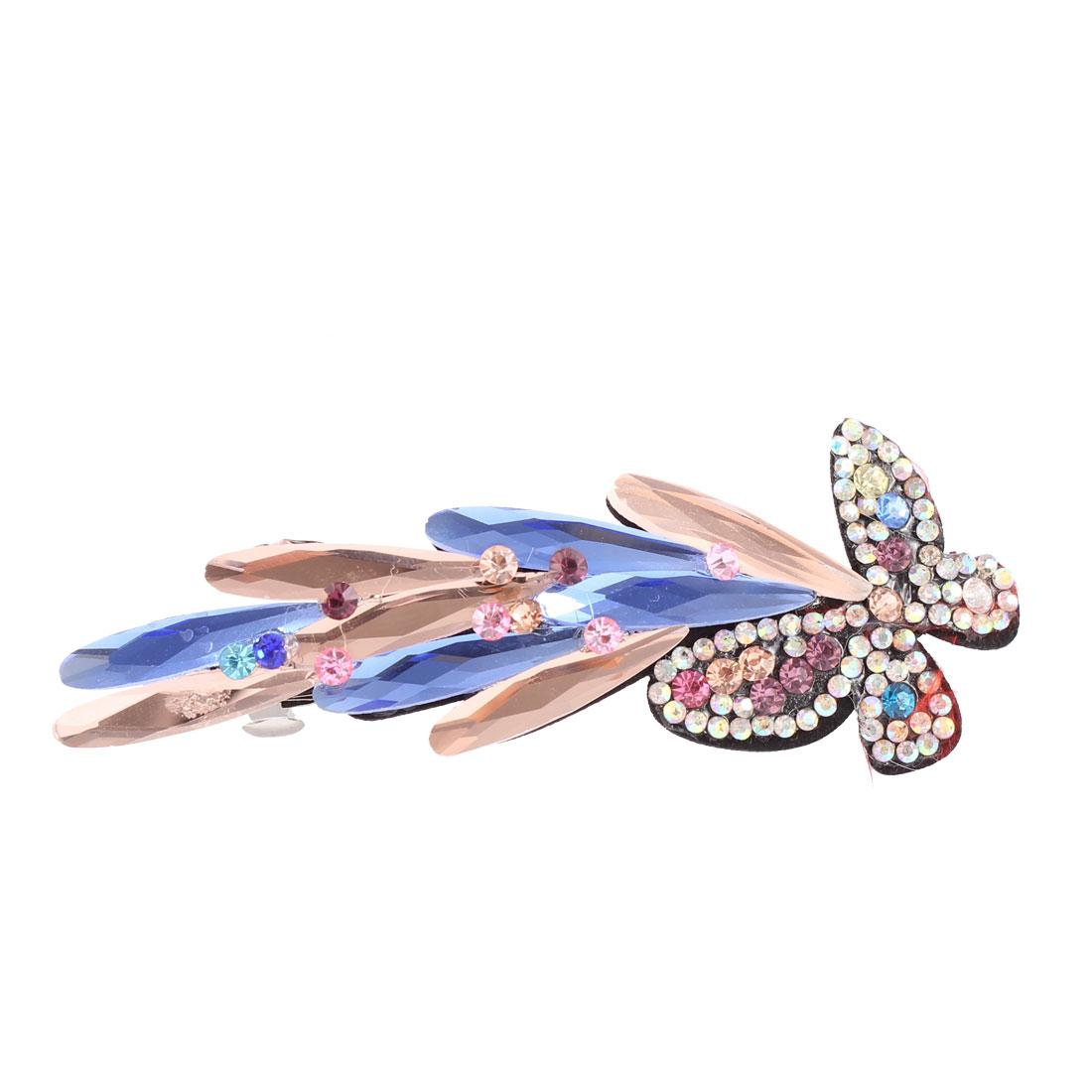 Plastic Crystal Rhinestone Decor Butterfly Shape Hair Clip Barrette Hairpin