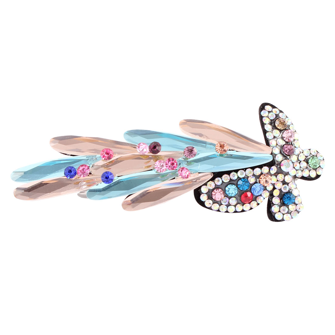 Plastic Crystal Rhinestone Detail Butterfly Shape Hair Clip Barrette Hairpin