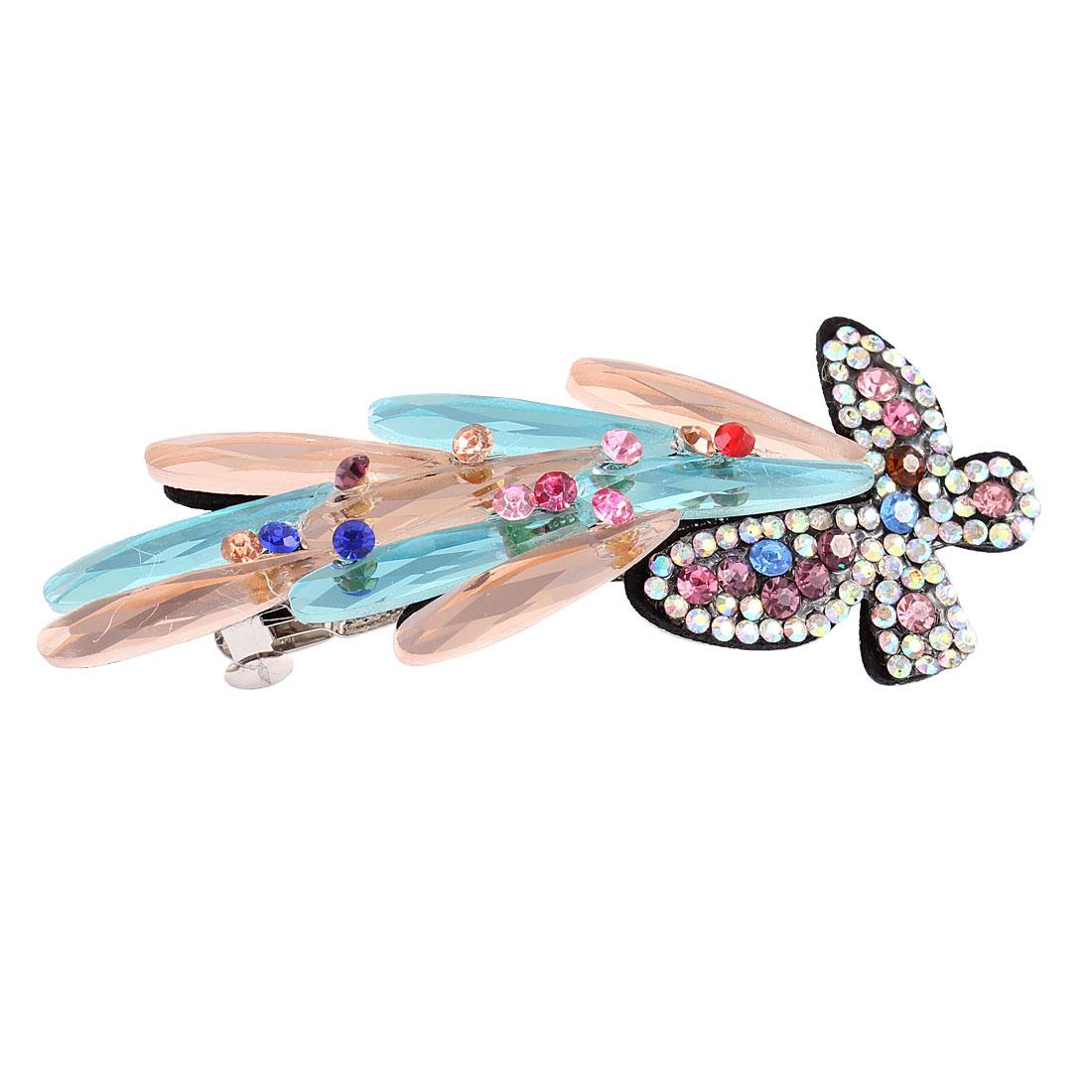 Lady Plastic Crystal Rhinestone Decor Butterfly Shape Hair Clip Barrette Hairpin