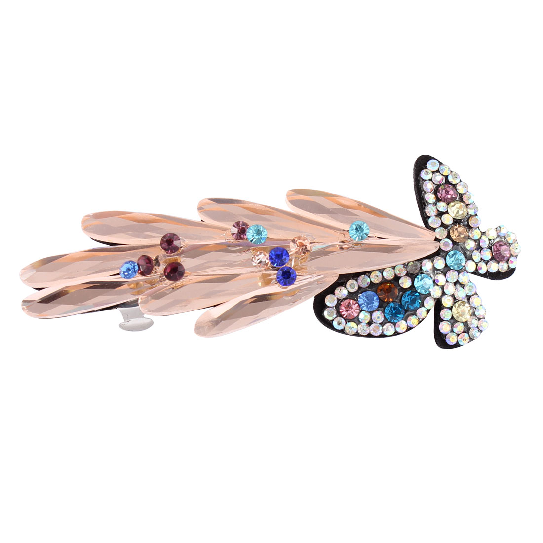 Lady Faux Crystal Rhinestone Decor Butterfly Shape Hair Clip Barrette Hairpin Off White