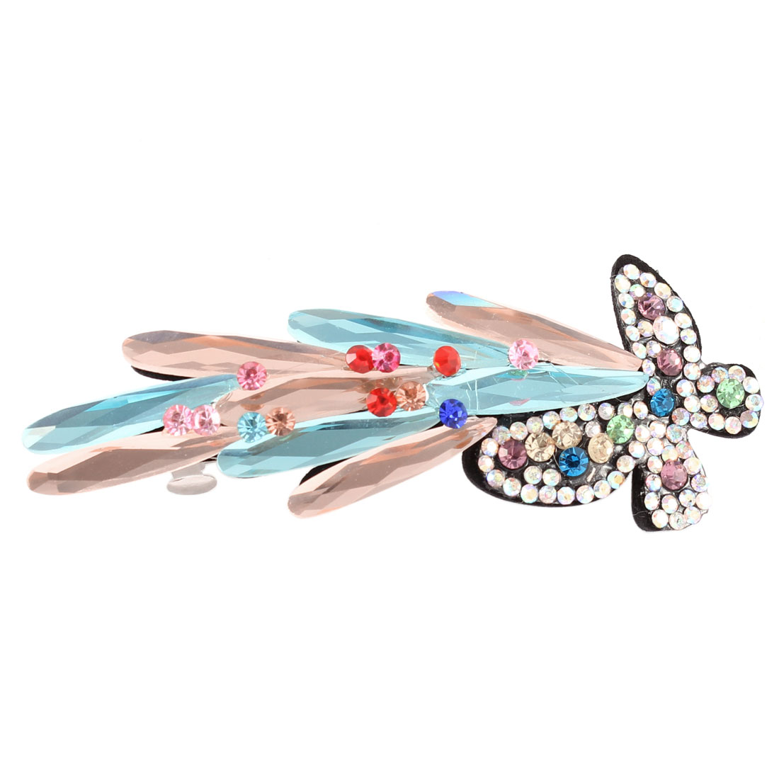 Woman Faux Crystal Rhinestone Decor Butterfly Shape Hair Clip Barrette Hairpin