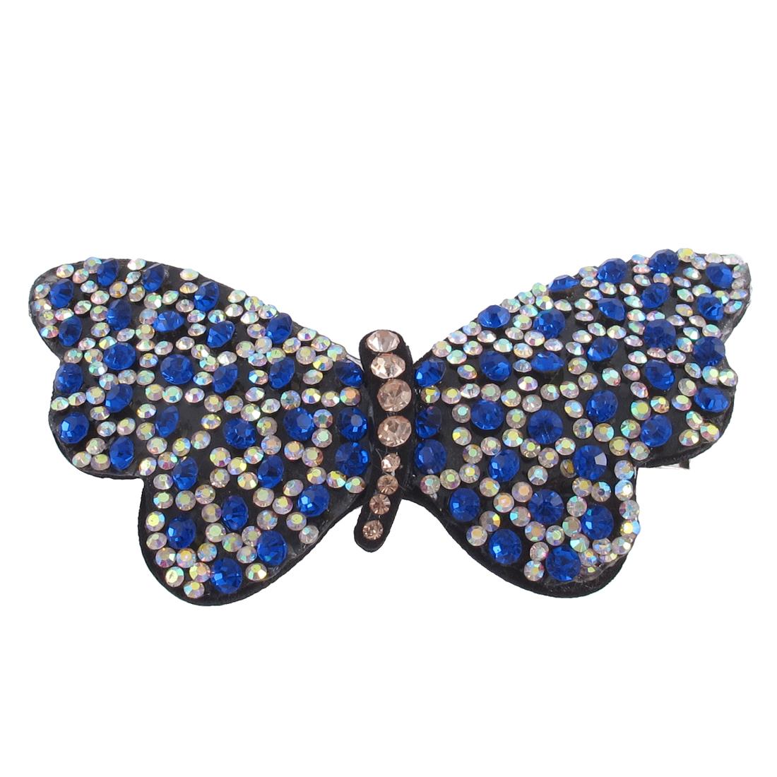 Woman Faux Rhinestone Detail Butterfly Shape Barrette Hairclip