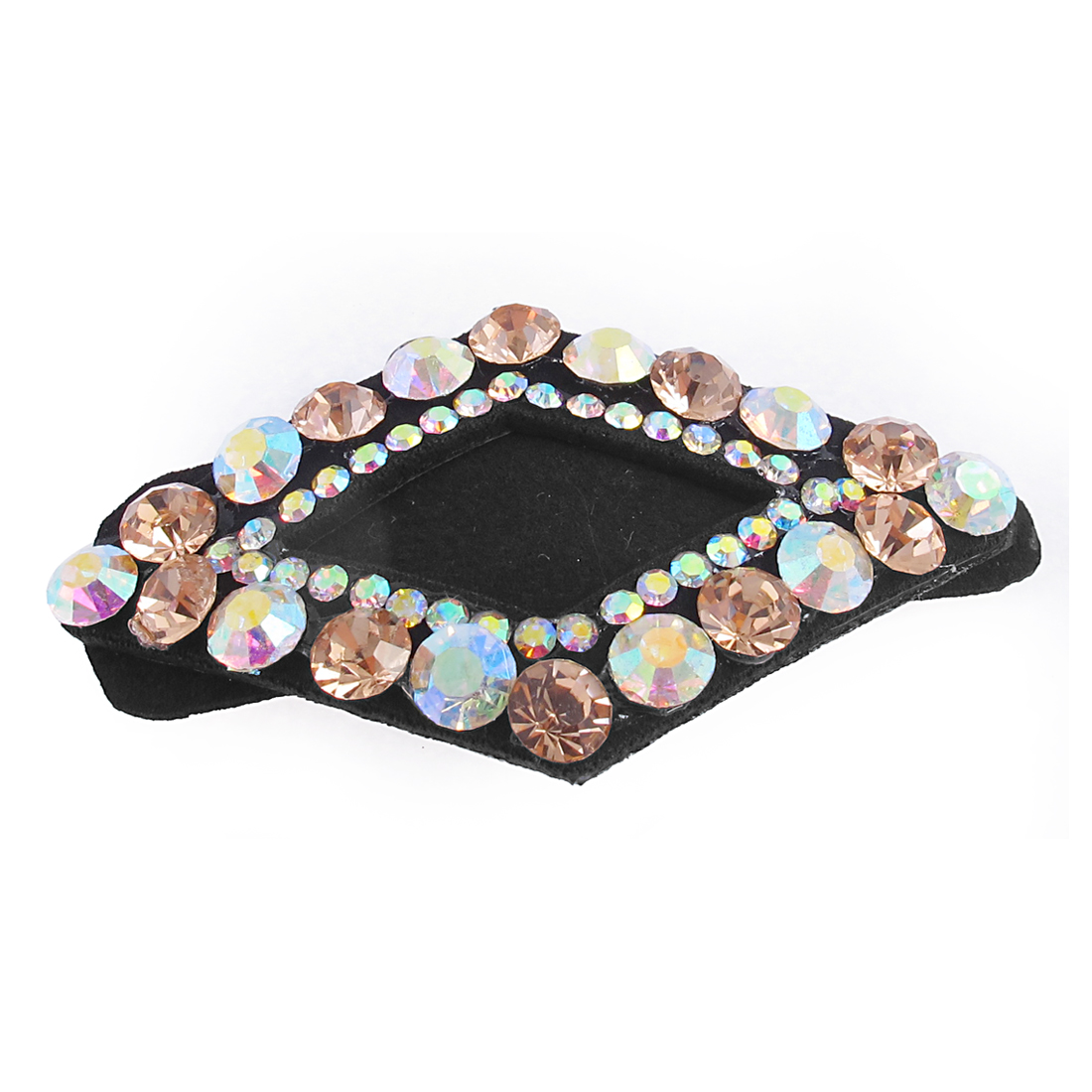 Lady Light Pink Faux Rhinestone Detail Rhombus Shape Hairpin Hair Clip Snap Barrette