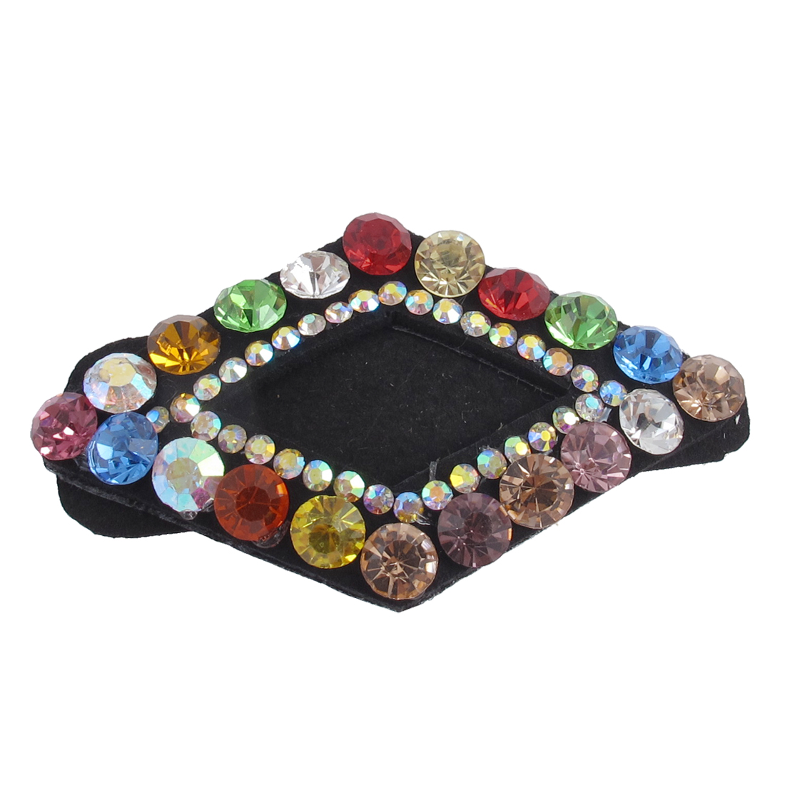 Lady Multicolor Faux Rhinestone Detail Rhombus Shape Hair Snap Barrette Clip