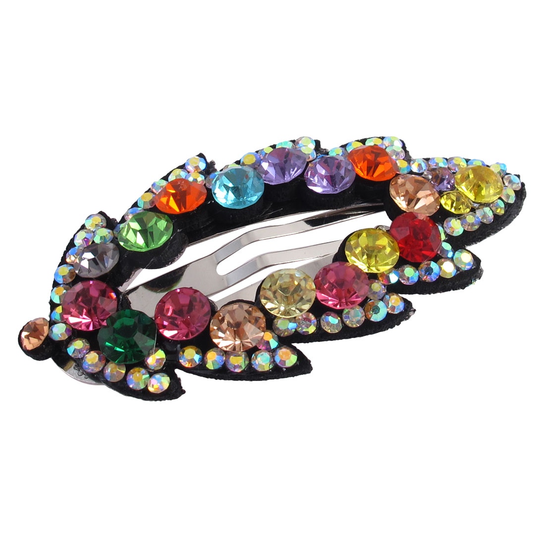Lady Faux Rhinestone Decor Leaf Design Hairpin Snap Barrette Hair Clip