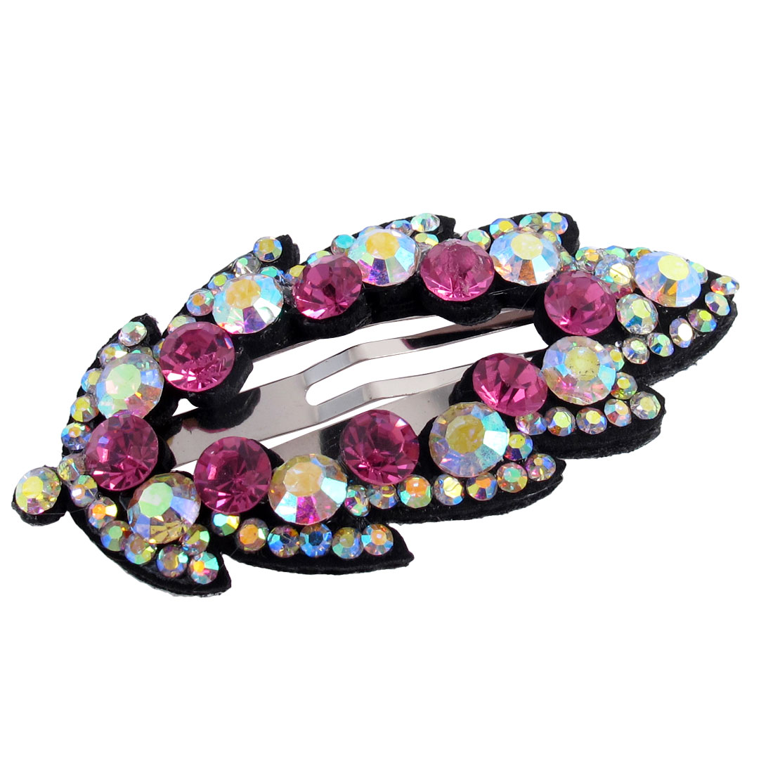 Lady Dark Pink Faux Rhinestone Detail Leaf Shape Hairpin Snap Barrette Hair Clip