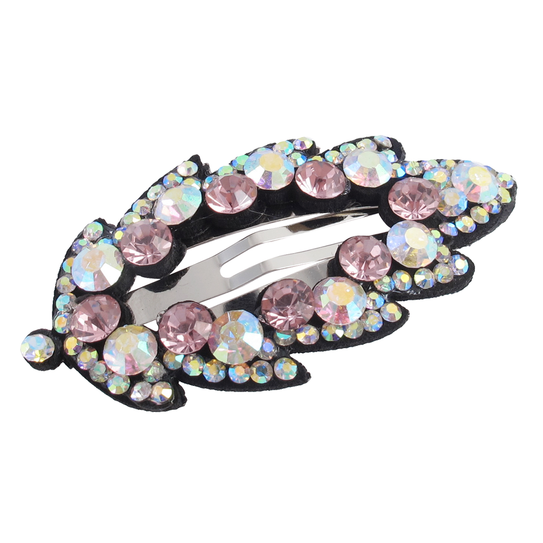 Woman Pink Faux Rhinestone Detail Leaf Shape Hairpin Hair Clip Snap Barrette