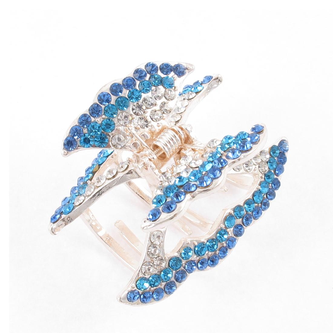 Woman Blue Faux Rhinestone Detail Metal Hair Claw Clamp Clip