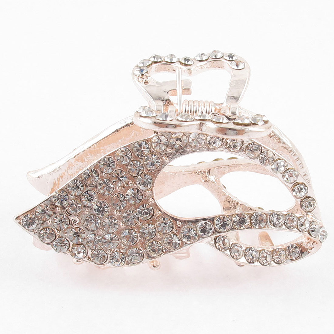 Lady Silver Tone Faux Rhinestone Detail Leaf Shape Hair Claw Clamp Clip