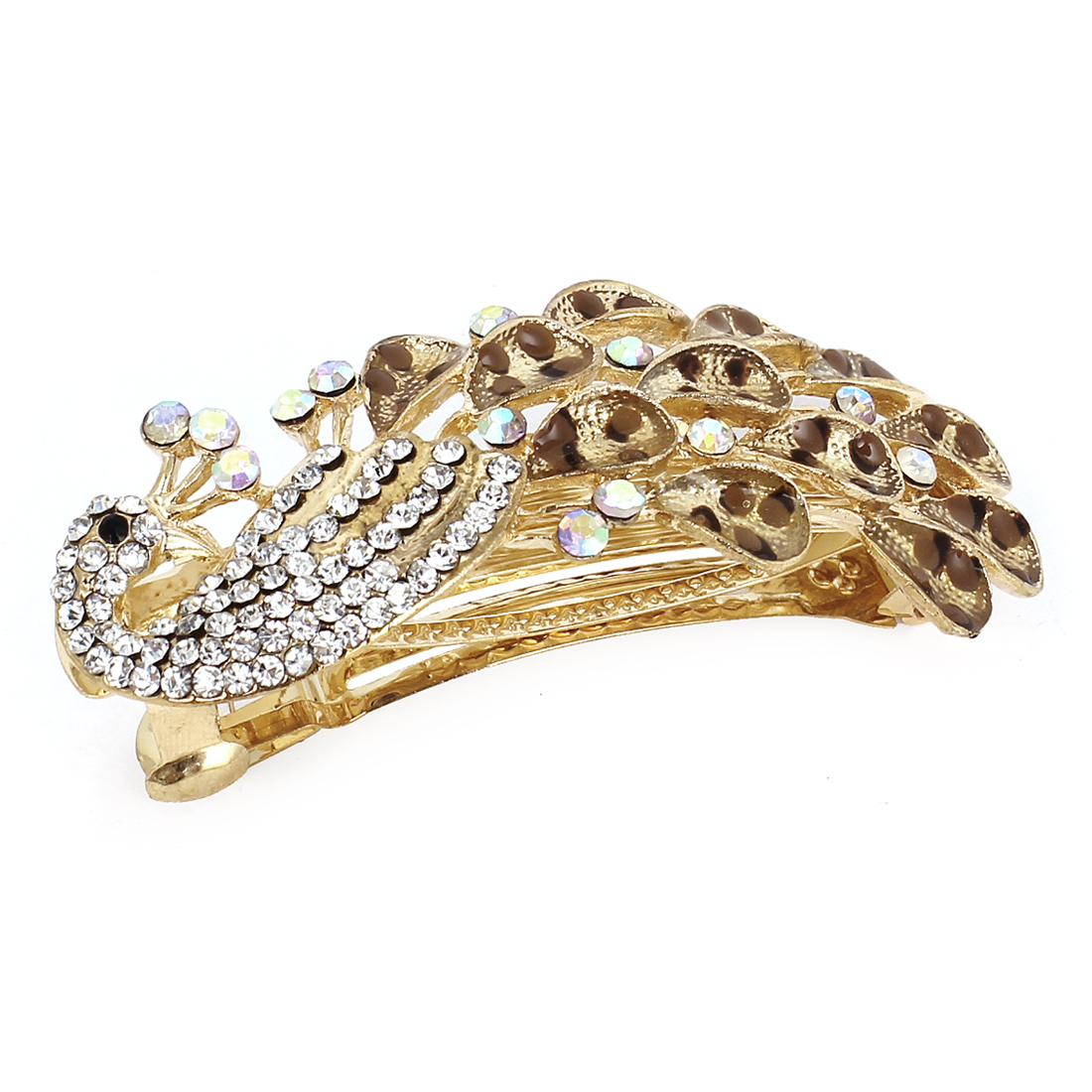 Leopard Pattern Rhinestone Peacock Shaped French Hair Clip Barrette Brown