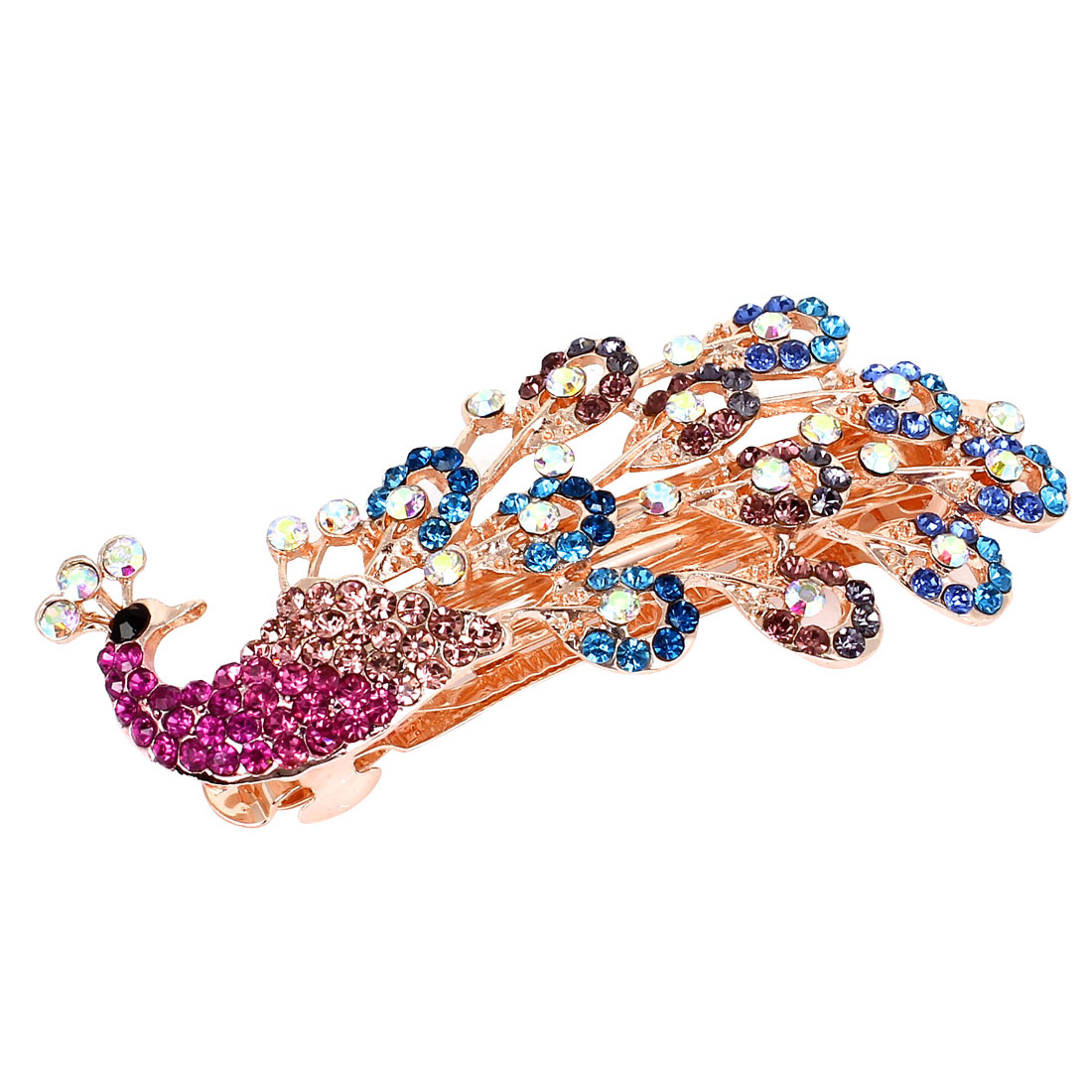Glittery Rhinestone Decor Peacock Style French Hair Clip Barrette Purple Blue