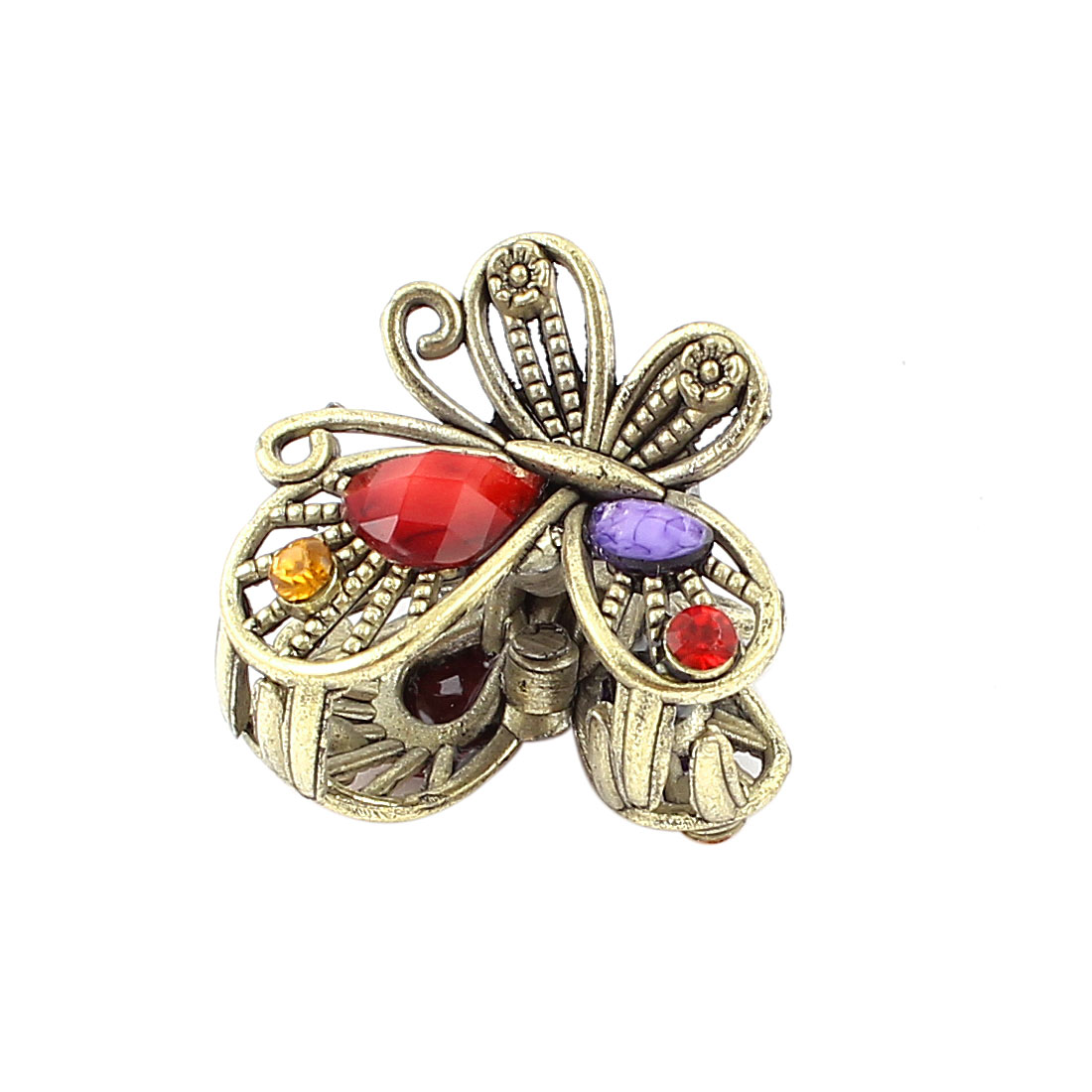 Bronze Tone Butterfly Design Plastic Crystal Hair Clamp Clip Claw Pin Red Purple