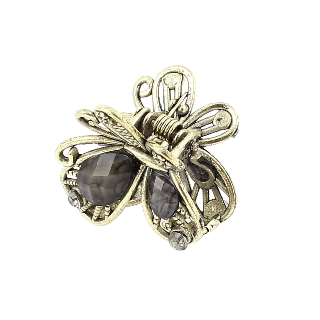 Bronze Tone Butterfly Plastic Crystal Decor Hairclip Clamp Clip Claw Pin Black