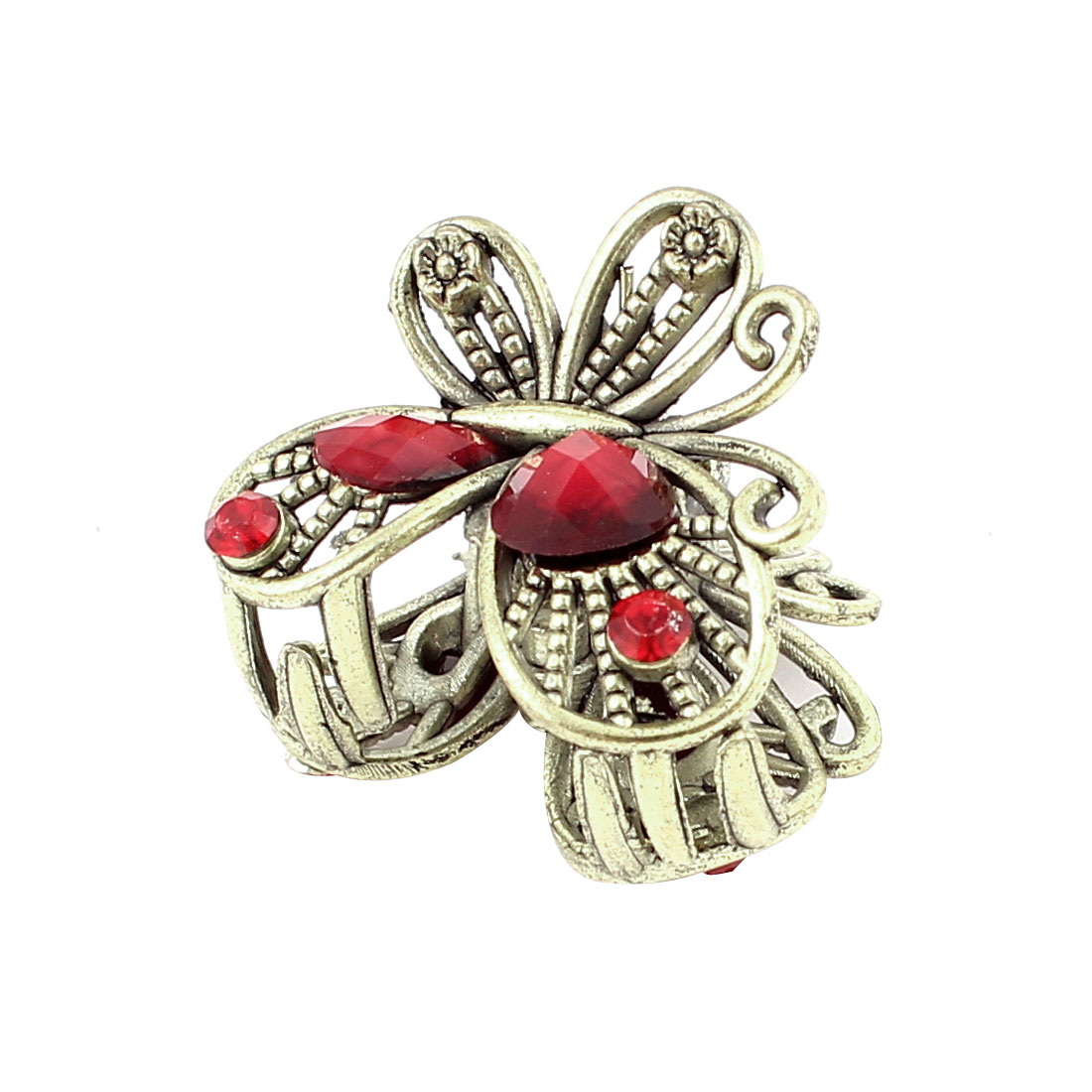 Bronze Tone Butterfly Plastic Crystal Decor Hairclip Clamp Clip Claw Pin Red