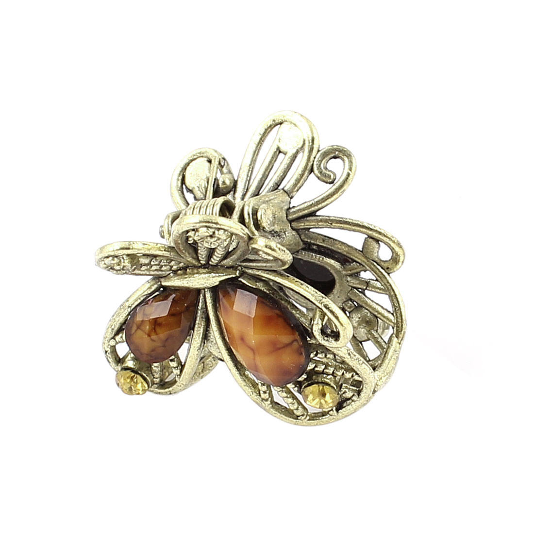 Bronze Tone Butterfly Plastic Crystal Decor Hairclip Clamp Clip Claw Pin Brown