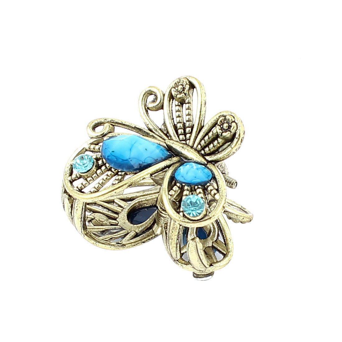 Bronze Tone Butterfly Plastic Crystal Decor Hairclip Clamp Clip Claw Pin Teal
